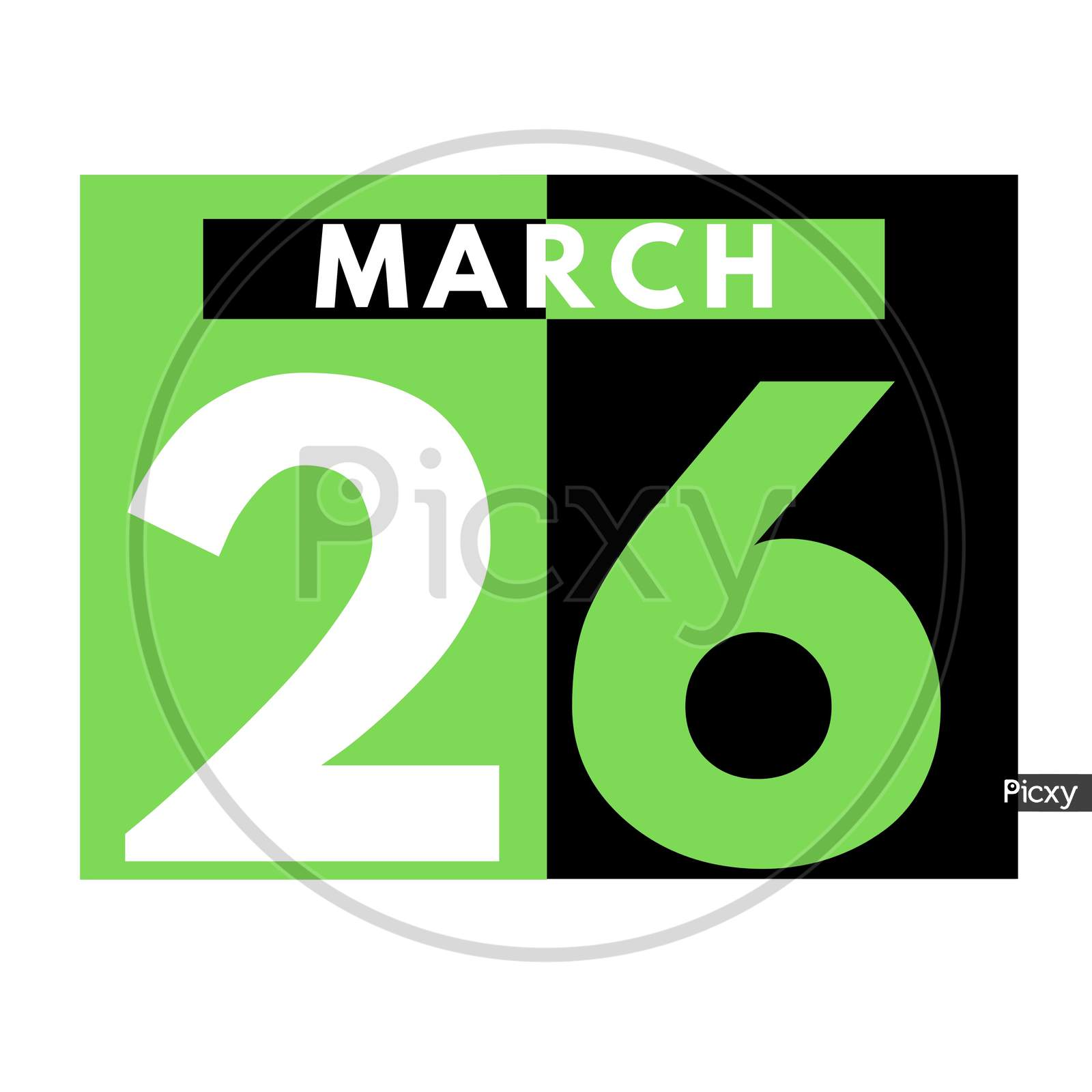 March 26 . Flat Daily Calendar Icon .Date ,Day, Month .Calendar For The Month Of March