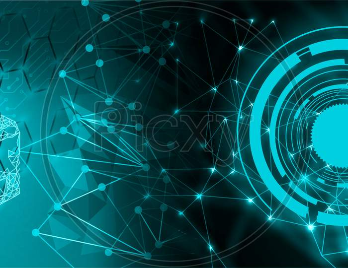 Digital cogs global circuit binary background. future binary technology telecoms background, Network concept. communication. Circuit board, Hi-tech digital technology and engineering. Abstract futuristic - Molecules technology with linear and polygonal pattern. artificial intelligence.