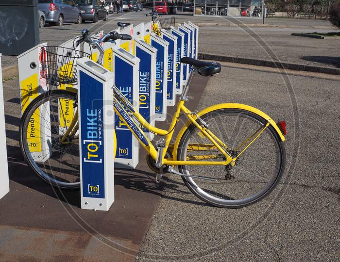 Turin, Italy - February 25, 2015: A Docking Station For The Cycle Hire Network