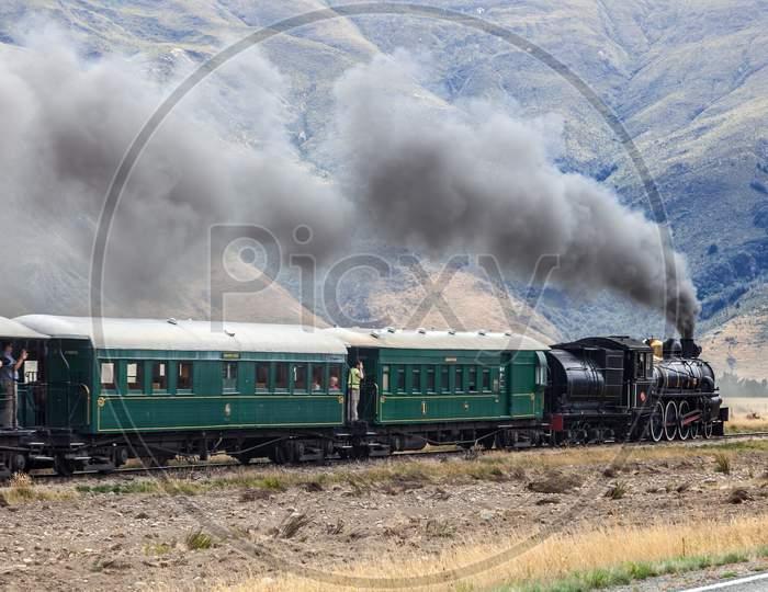 Kingston, Near Lake Wakatipu, New Zealand - February 17 : View Of The Kingston Flyer Steam Train In Kingston  New Zealand On February 17, 2012. Unidentified People