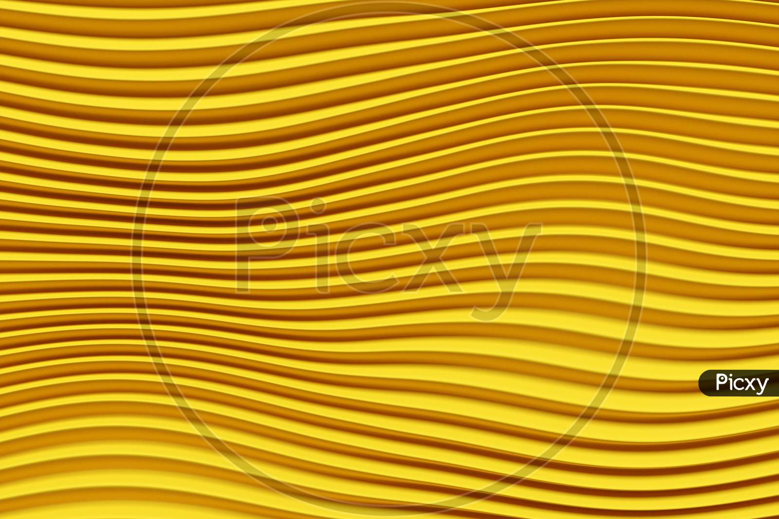 3D Illustration  Rows Of Yellow  Line  .Geometric Background, Weave Pattern.