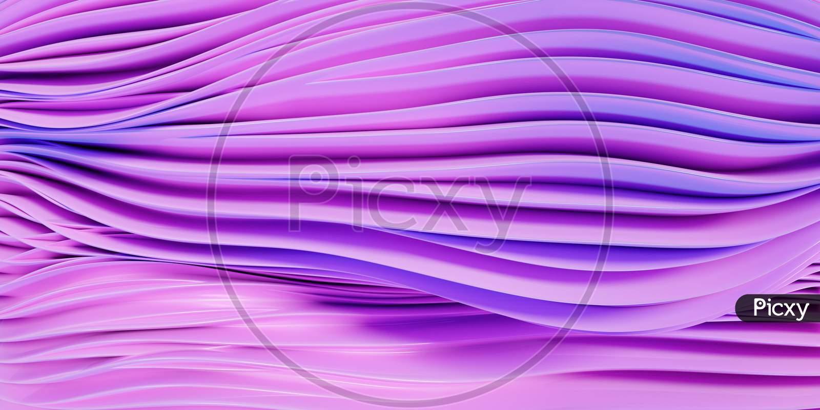 3D Illustration  Rows Of Purple Line  .Geometric Background, Weave Pattern.