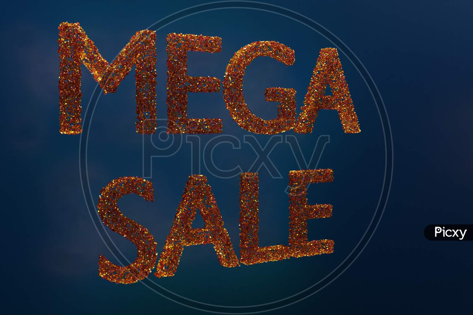 3D Illustration Design Of A Banner Mega Big Sales With The Inscription Mega Sale. Tag Templates With Special Offers For Purchase