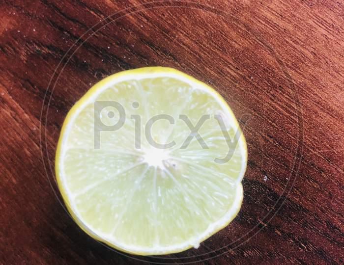 Natural Yellow Slice Lemons Citrus Fruit