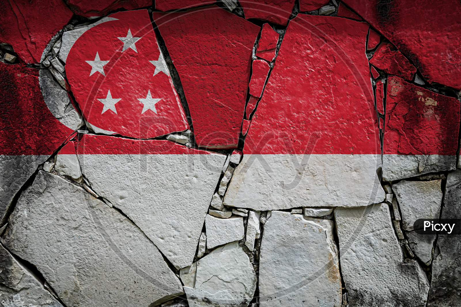 National Flag Of Singapore Depicting In Paint Colors On An Old Stone Wall. Flag  Banner On Broken  Wall Background.