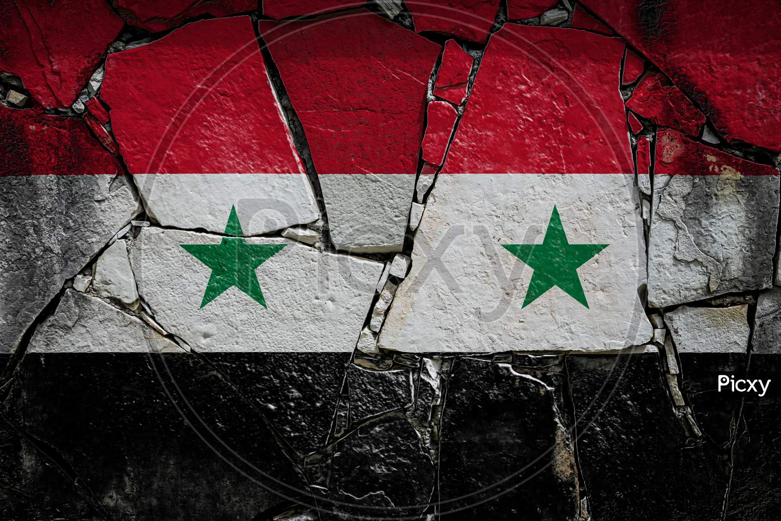 National Flag Of Syria Depicting In Paint Colors On An Old Stone Wall. Flag  Banner On Broken  Wall Background.