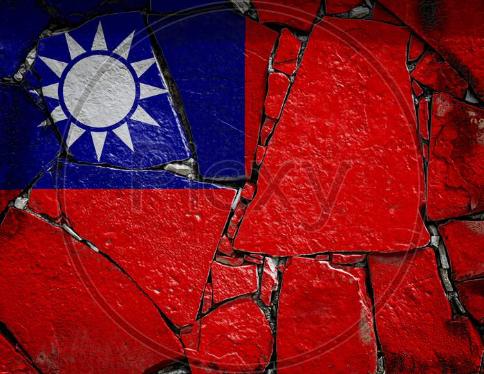 National Flag Of Taiwan Depicting In Paint Colors On An Old Stone Wall. Flag  Banner On Broken  Wall Background.