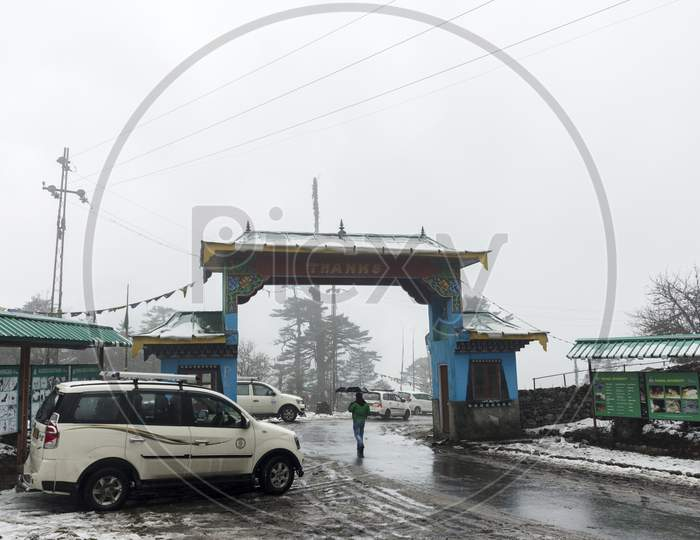 A Big Gate At The Entry Point Shingba Rhododendron Sanctuary Near Yumthang Valley, Sikkim, India.