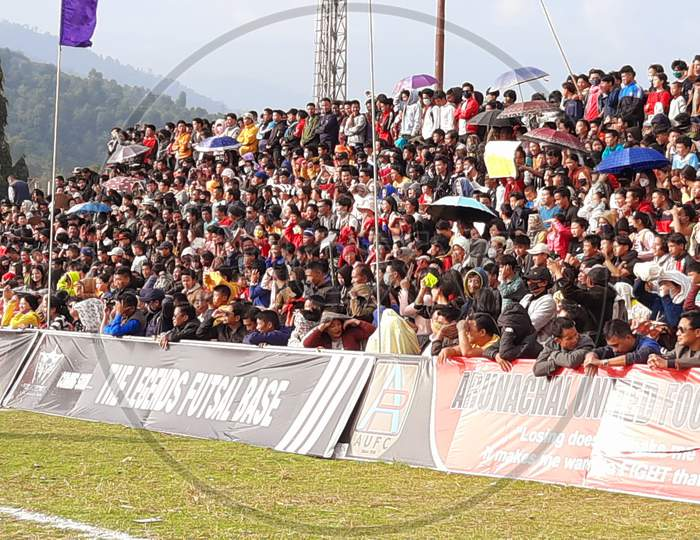 Crowds of people  in a Football match at Seppa General Ground at Seppa