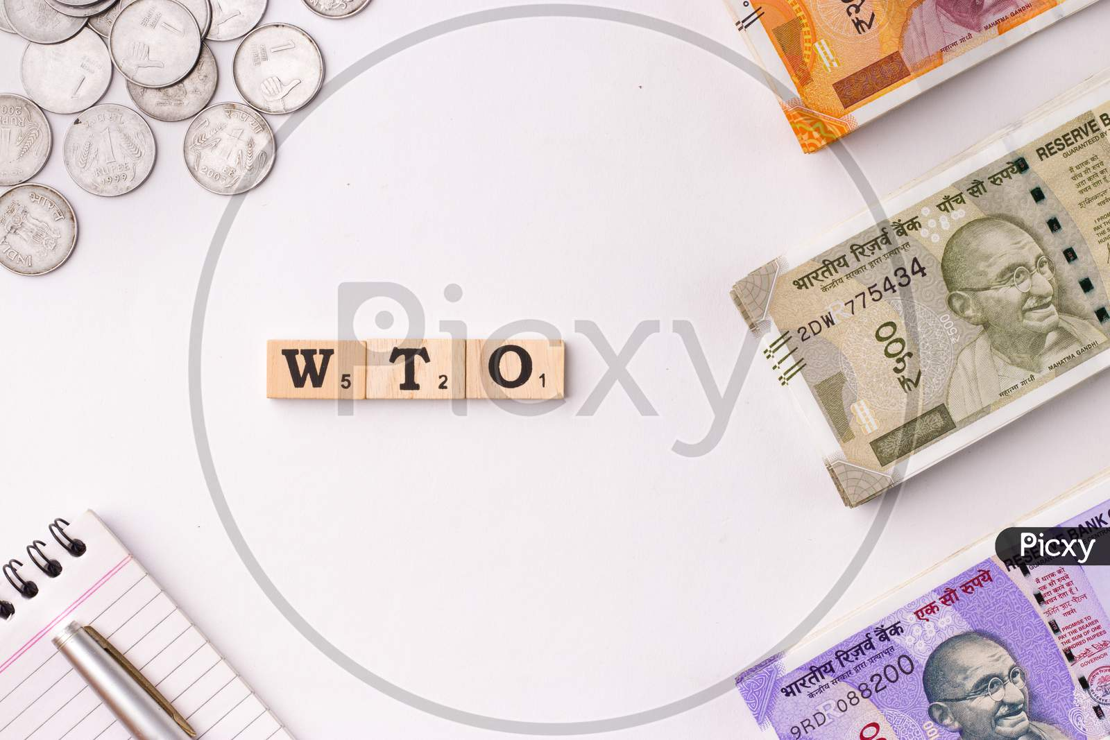 Assam, india - March 30, 2021 : Word WTO written on wooden cubes stock image.