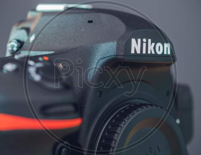 Galle, Sri Lanka - 02 17 2021: Nikon D850 Dslr Body With Camera Body Cap, Grip And Front Dials, And On-Off Switch Close Up. Highest Built Quality Modern Professional Consumer Dslr Camera Body,