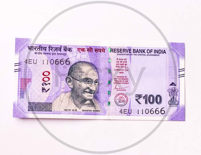 Assam, india - March 30, 2021 : Indian 100 Rupees note stock image.