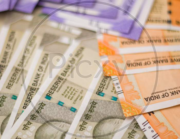 Assam, india - March 30, 2021 : Indian new Rupees note stock image.