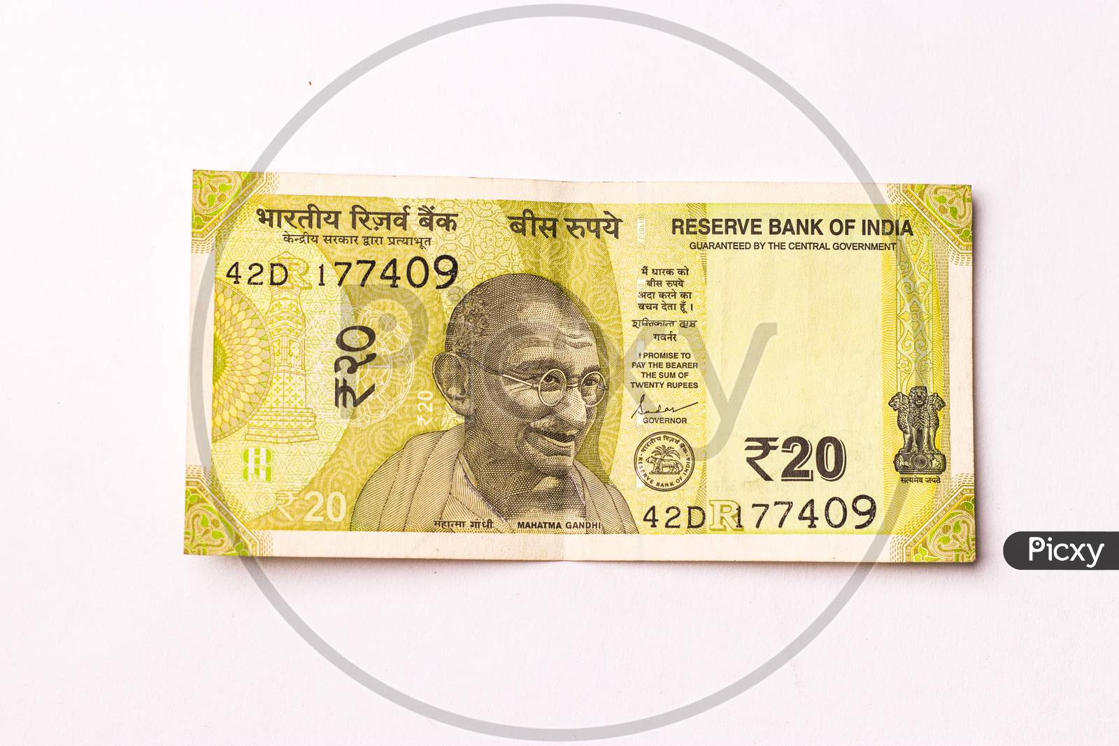Assam, india - March 30, 2021 : Indian new 20 Rupees note stock image.