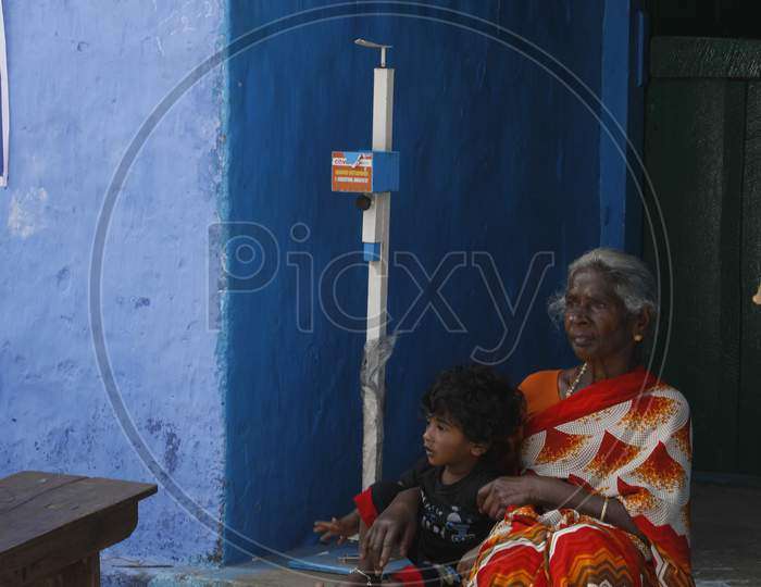 Indian Old Women at rural home
