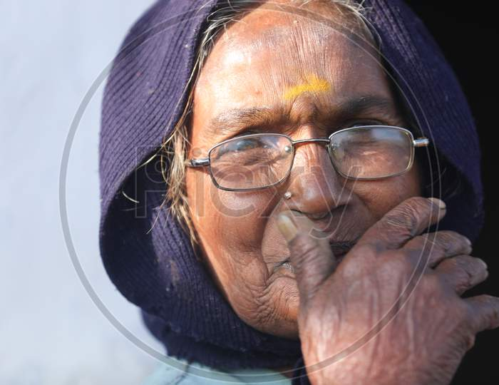 Indian Old Women at rural area