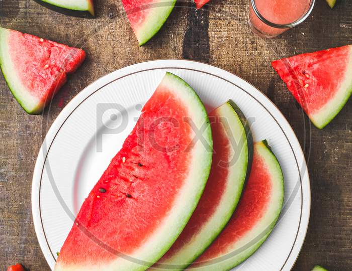 Creative sliced watermelon stock image.