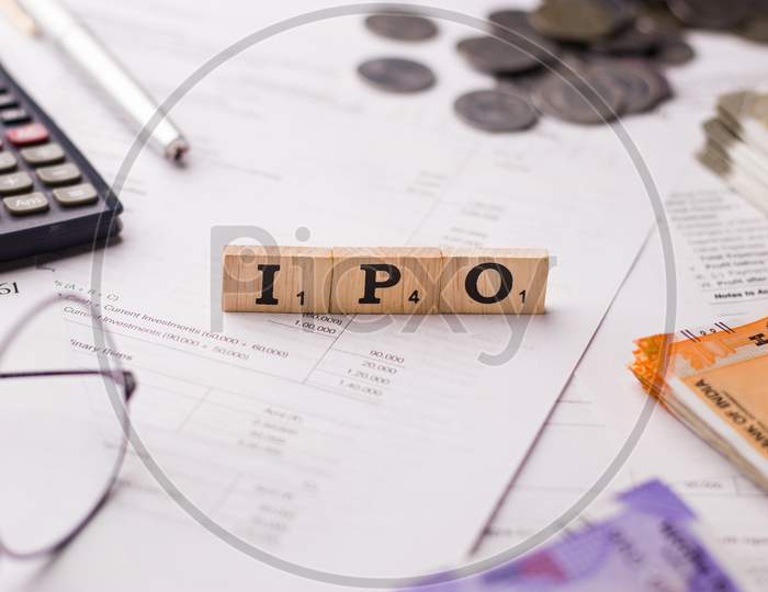 Assam, india - March 30, 2021 : Word IPO written on wooden cubes stock image.