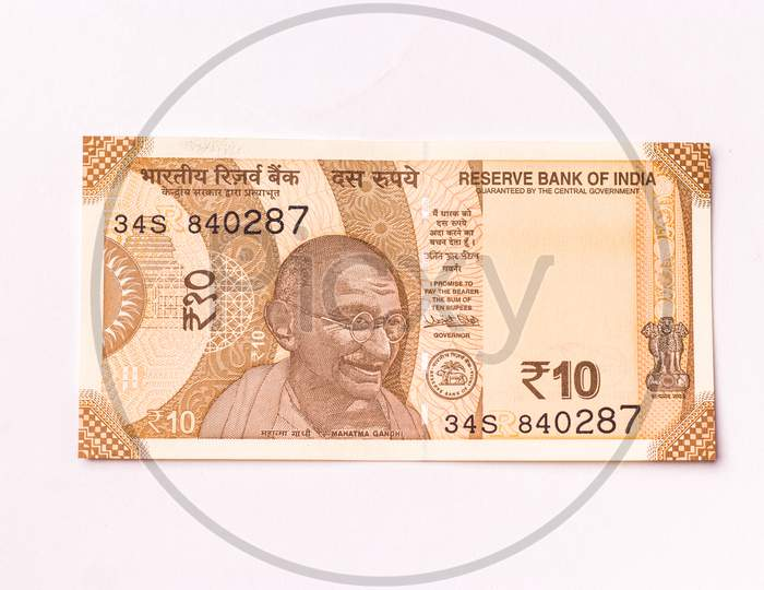 Assam, india - March 30, 2021 : Indian new 10 Rupees note stock image.