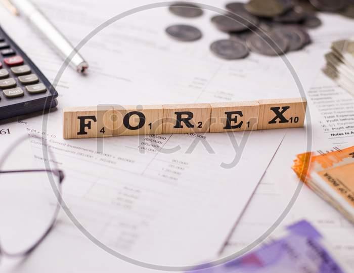Assam, india - April 19, 2021 : Forex logo on phone screen stock image.