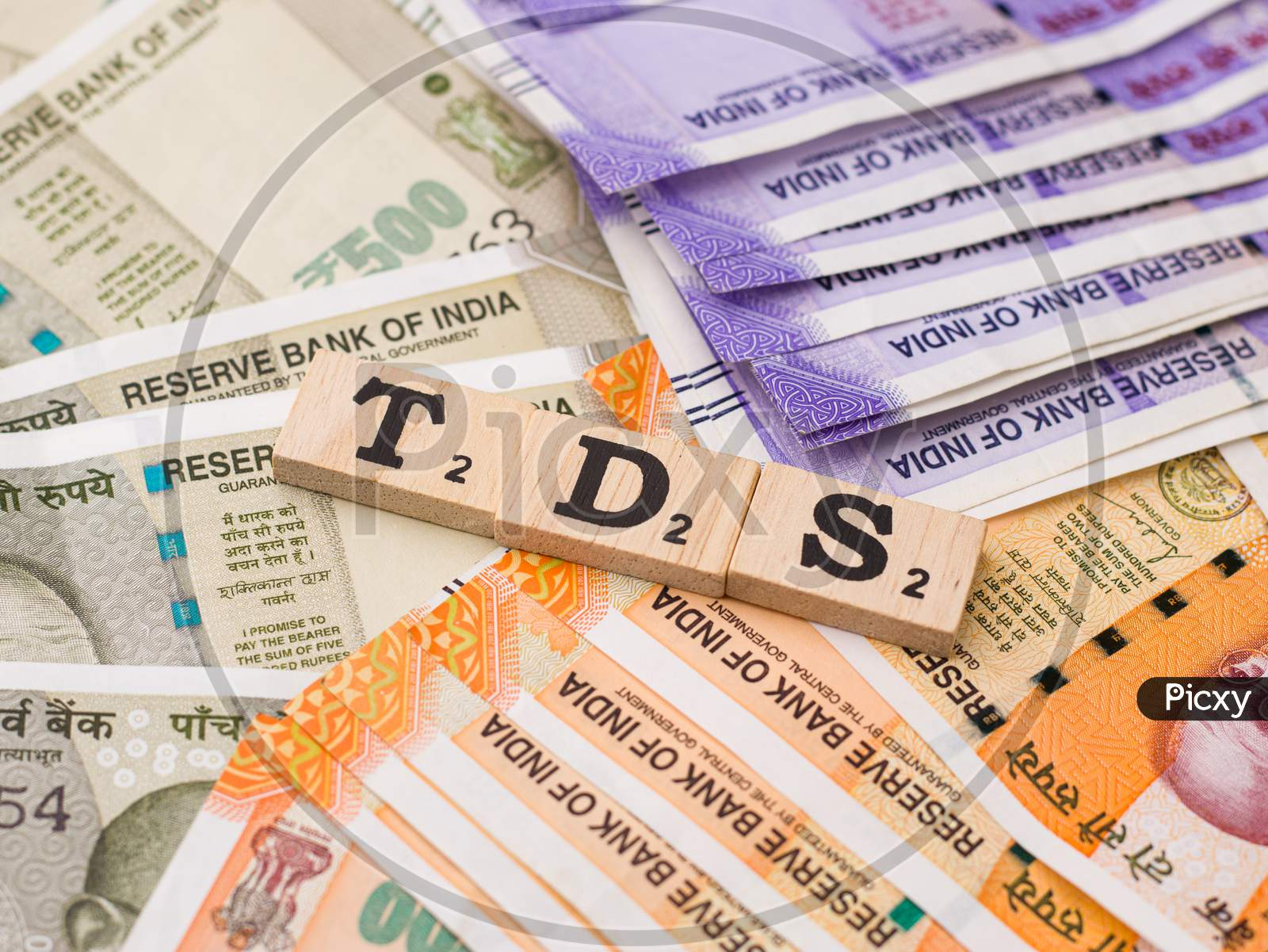 Assam, india - March 30, 2021 : Word TDS written on wooden cubes stock image.