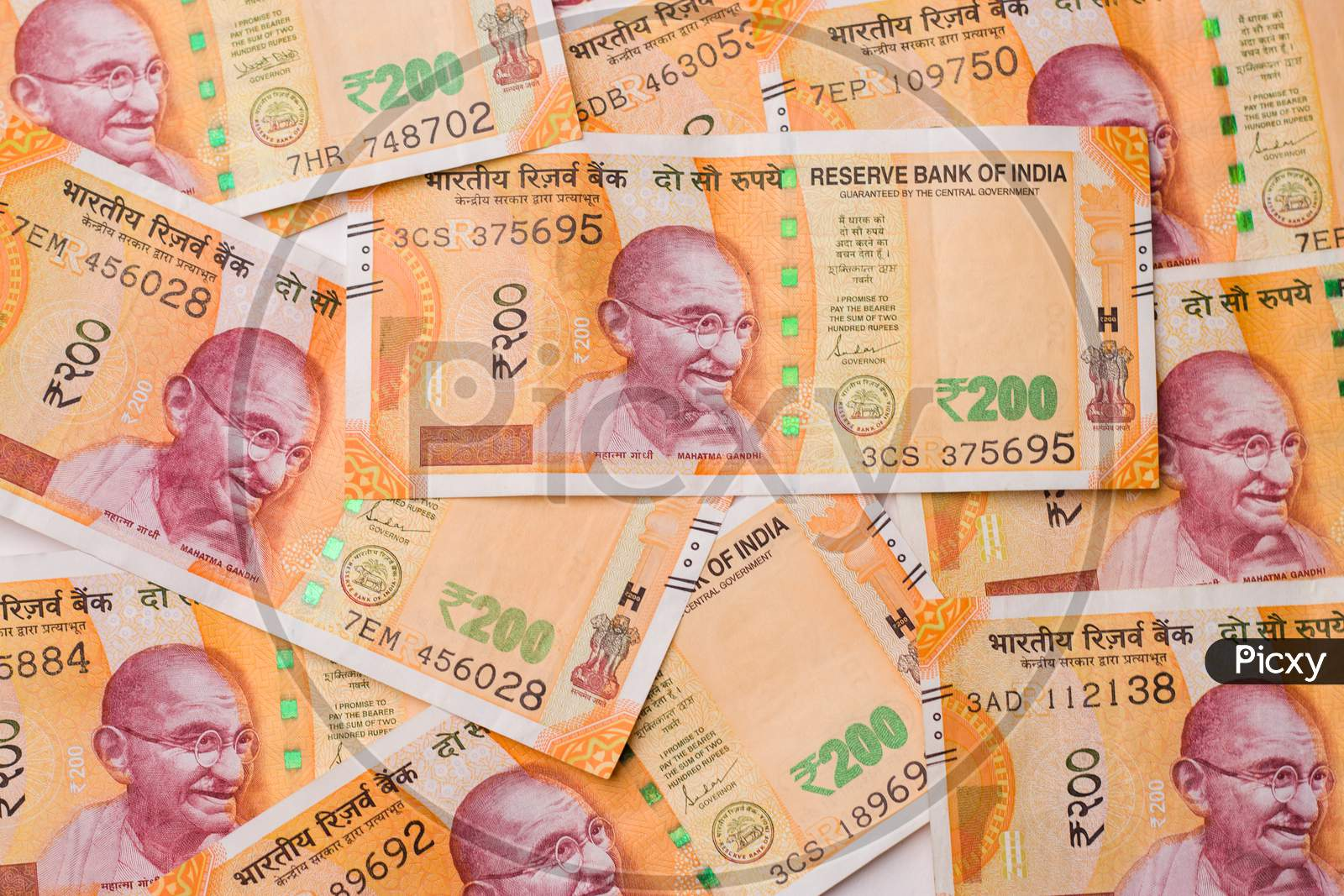 Assam, india - March 30, 2021 : Indian new 200 Rupees note stock image.
