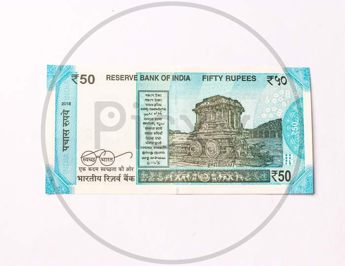 Assam, india - March 30, 2021 : Indian 50 Rupees note stock image.