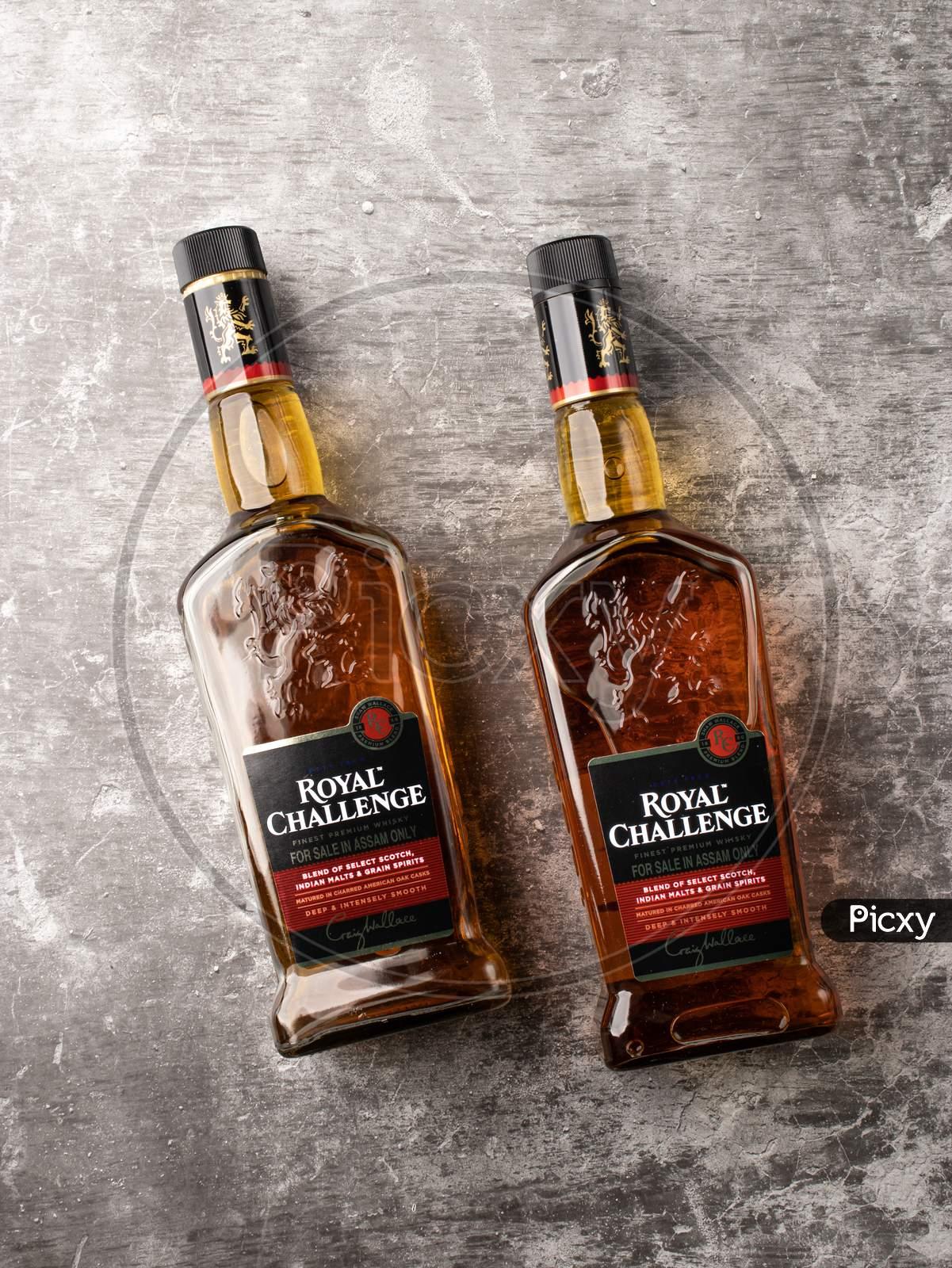 Assam, india - April 18, 2021 : Royal challenge whisky bottle stock image.