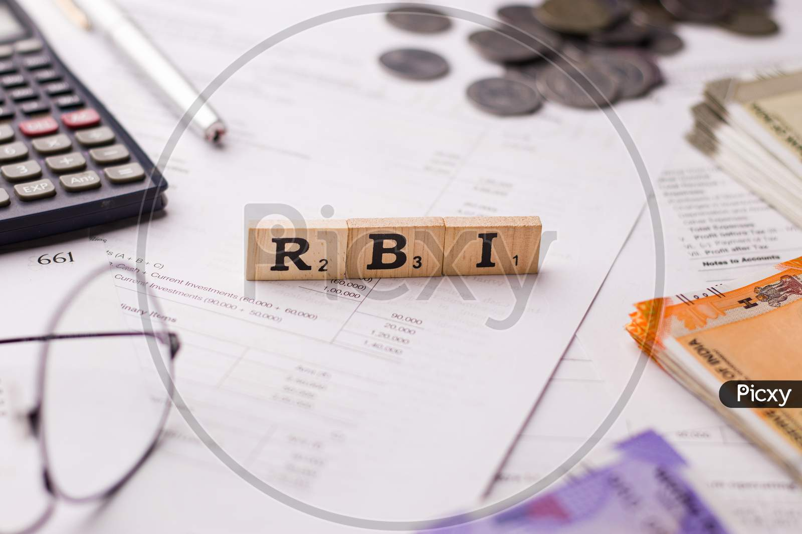 Assam, india - March 30, 2021 : Word RBI written on wooden cubes stock image.