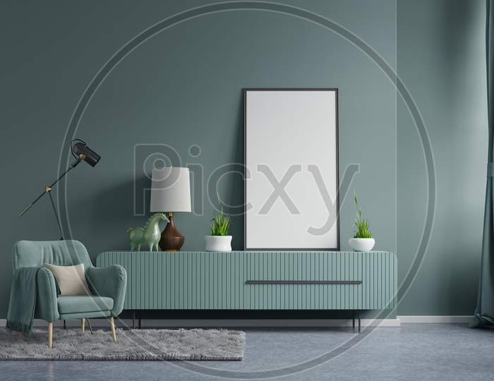 Poster Mockup With Vertical Frames On Empty Dark Green Wall In Living Room Interior With Dark Green Velvet Armchair.