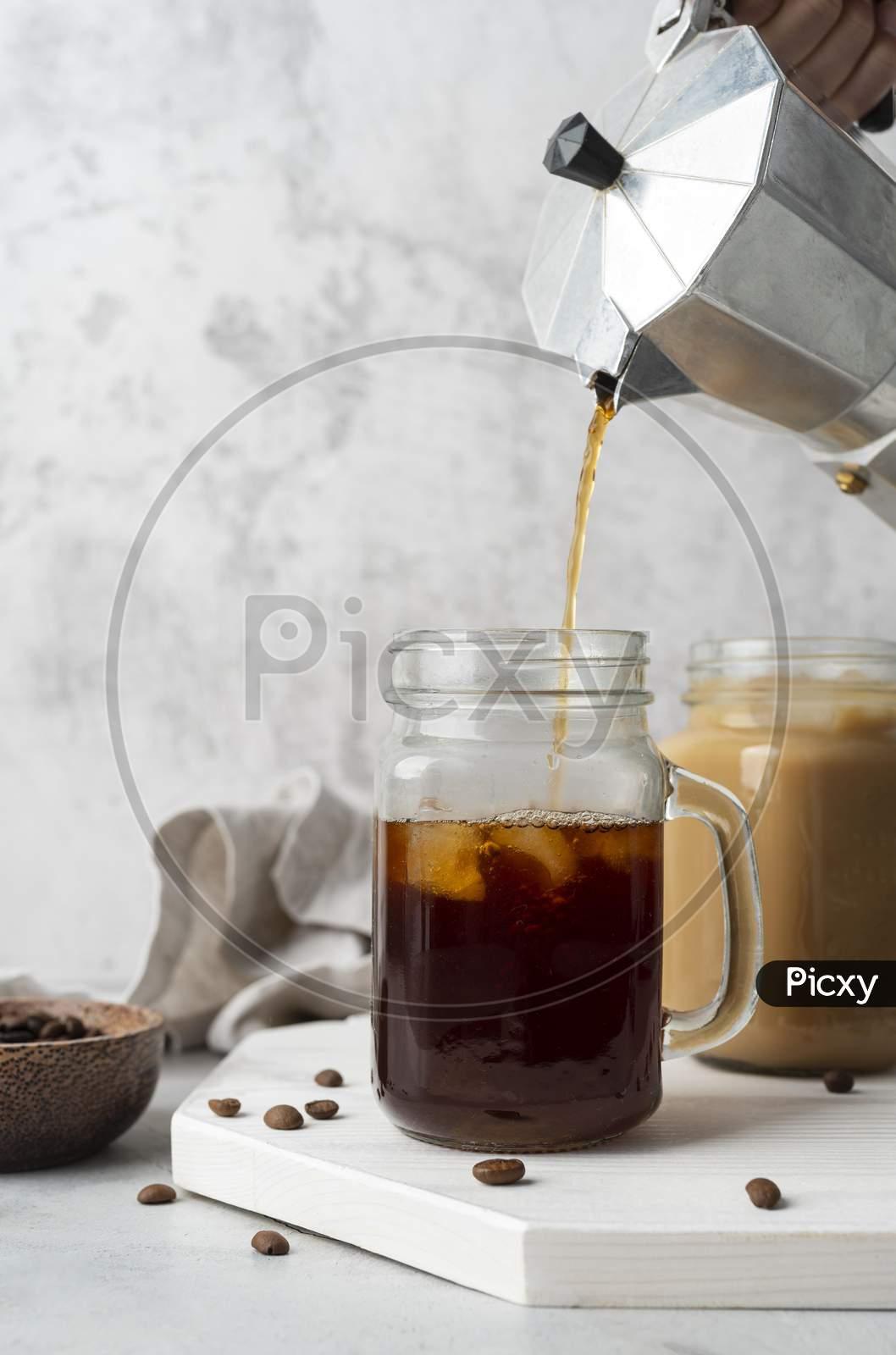 pouring coffee mug close up