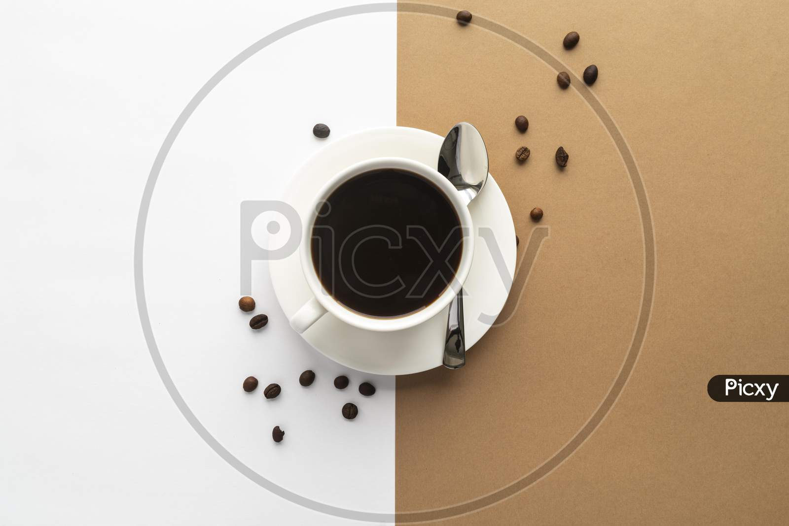 top view cup coffee