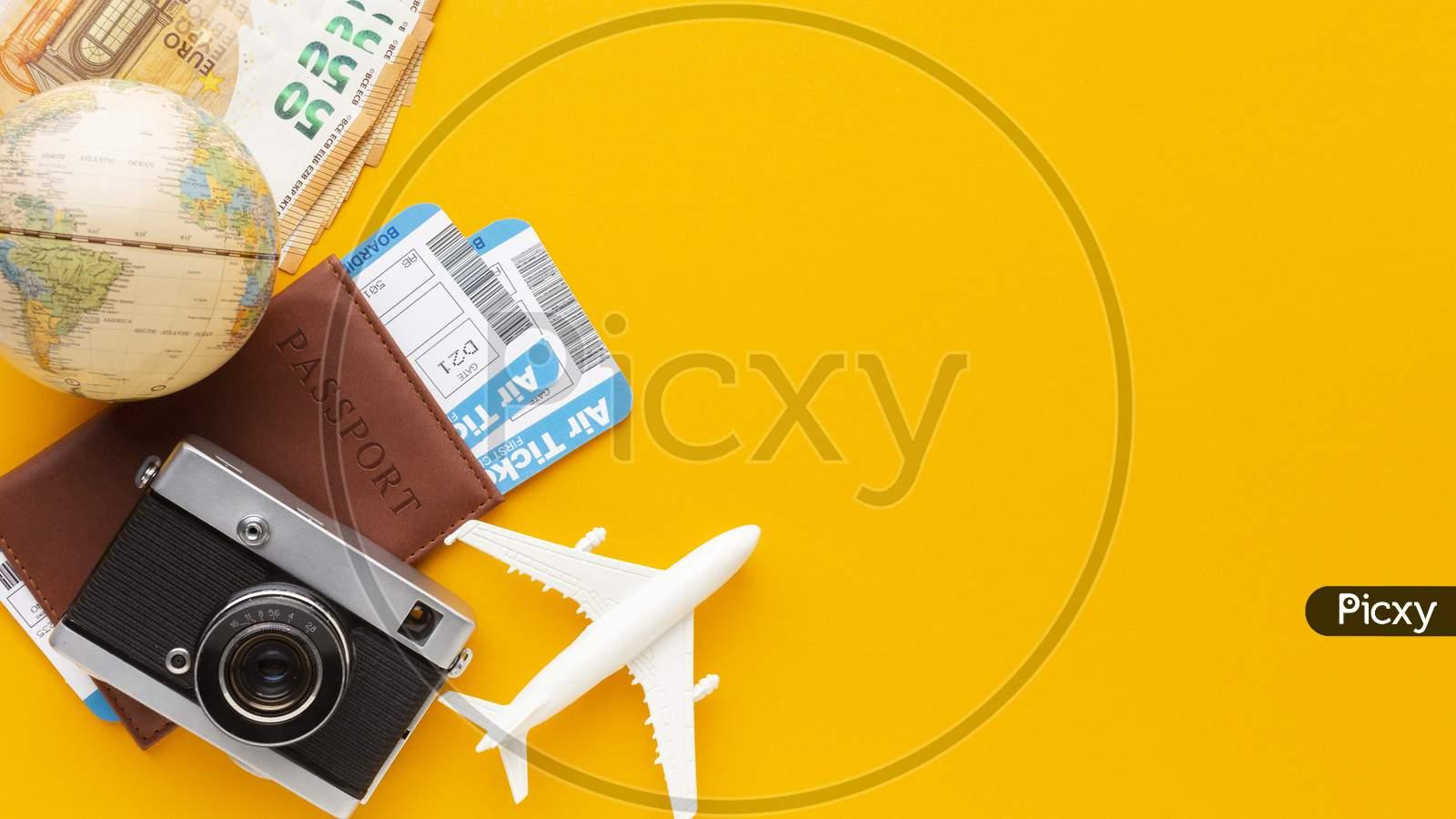 flat lay tickets camera arrangement