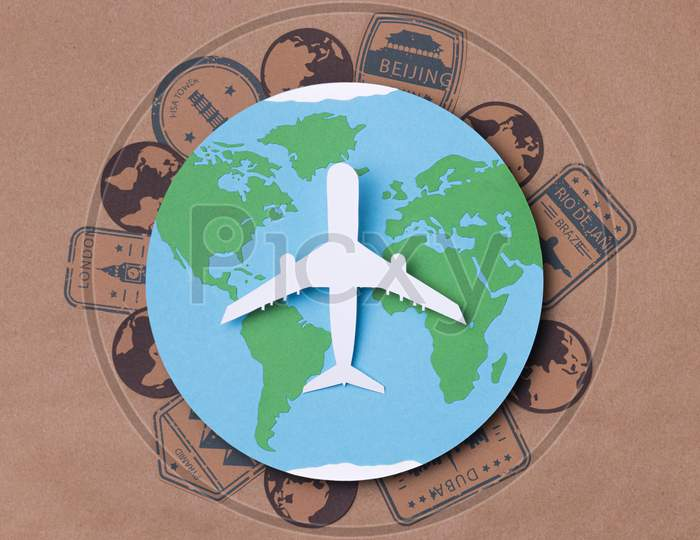 top view world tourism day concept