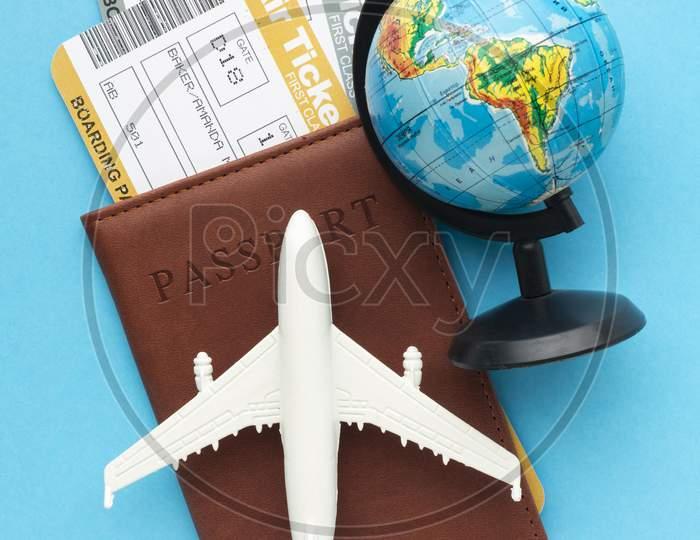 top view passport tickets arrangement