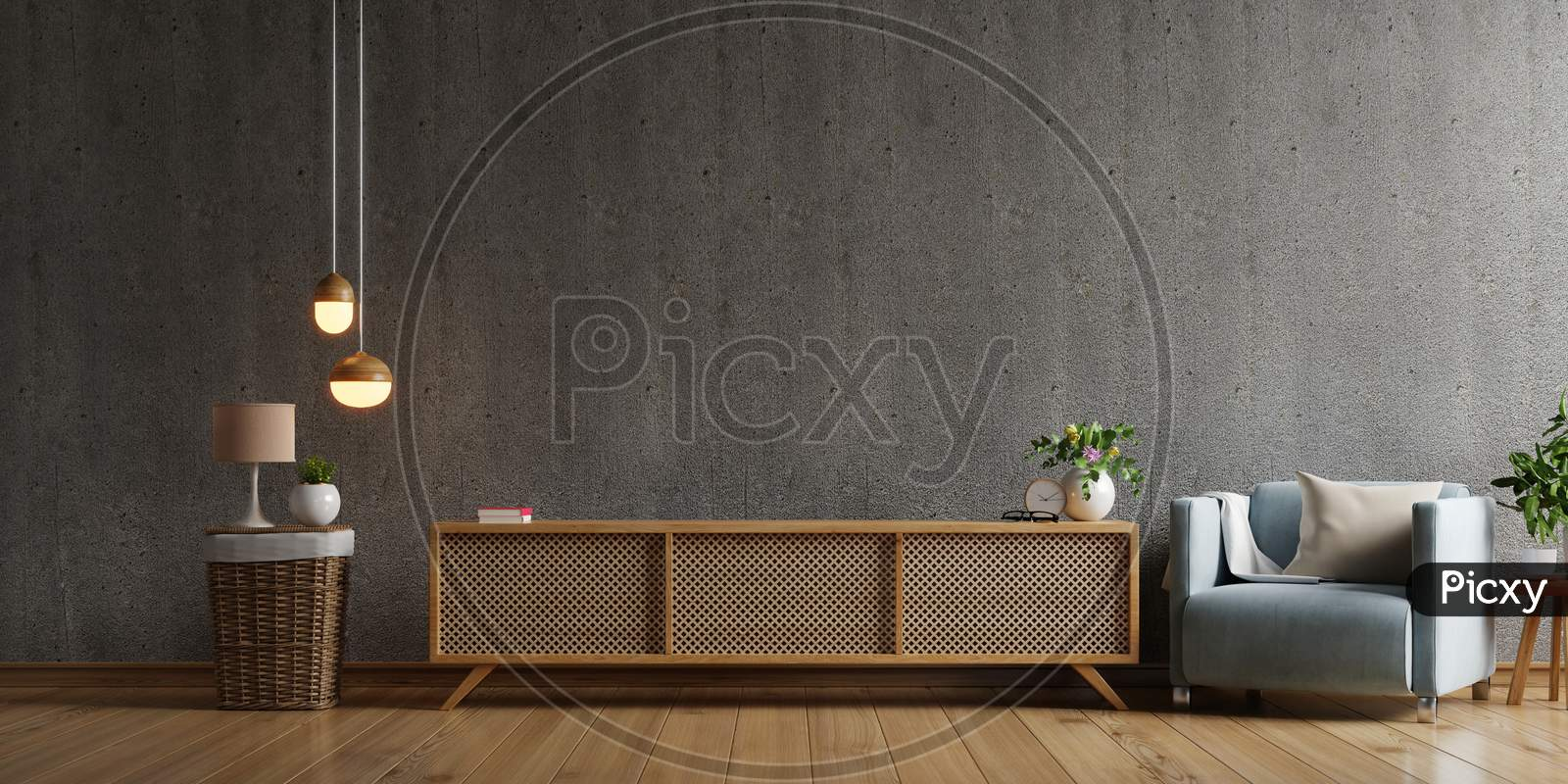 Cabinet Tv In Modern Living Room With Armchair,Lamp,Table,Flower And Plant On Concrete Wall Background.