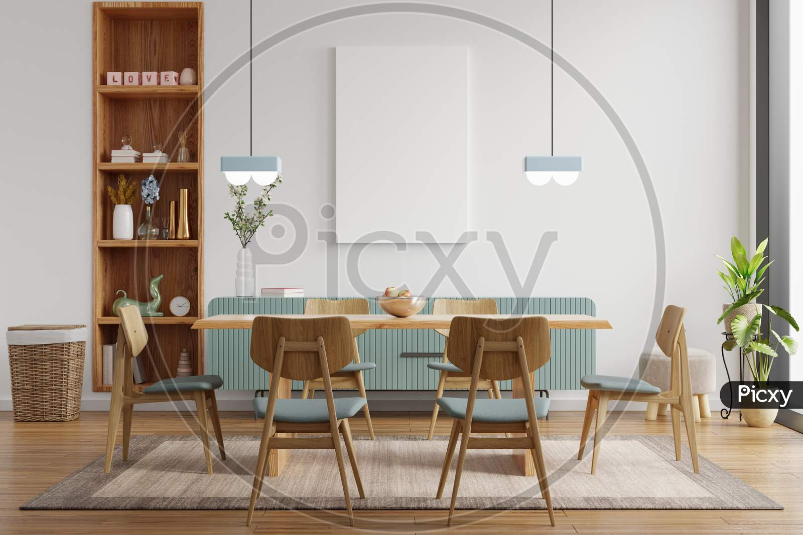 Mock Up Poster In Modern Dining Room Interior Design With White Empty Wall.