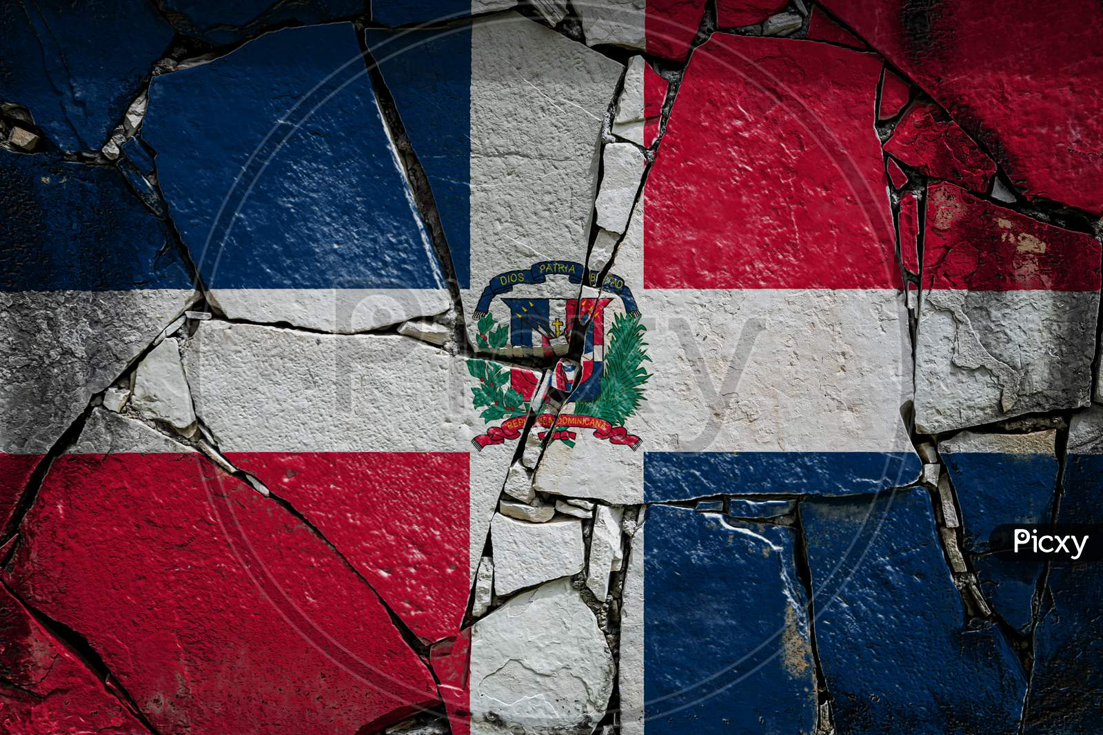 National Flag Of Dominicana  Depicting In Paint Colors On An Old Stone Wall. Flag  Banner On Broken  Wall Background.