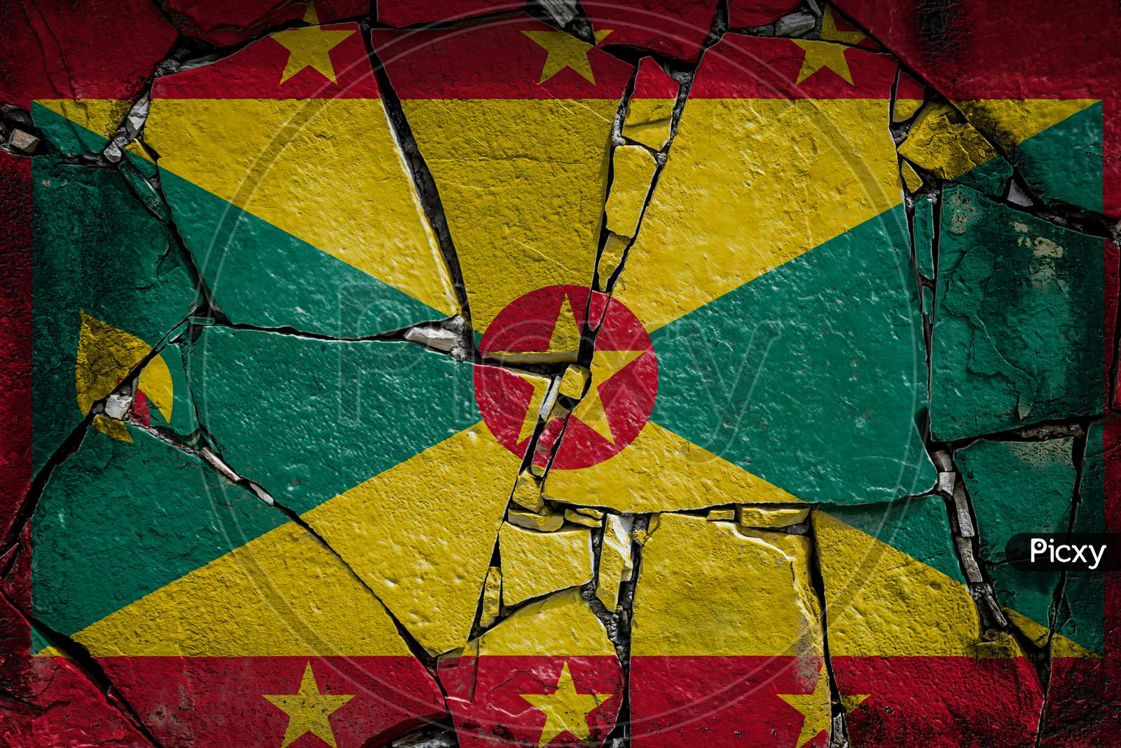 National Flag Of Grenada  Depicting In Paint Colors On An Old Stone Wall. Flag  Banner On Broken  Wall Background.