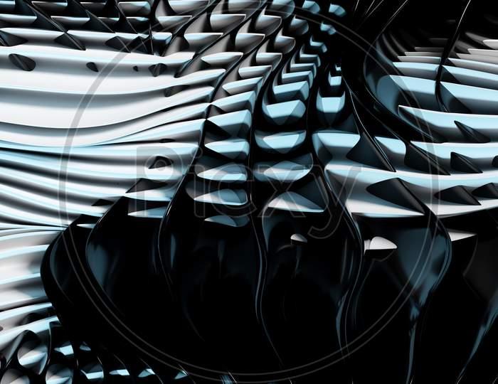 3D Illustration Of Rows  White, Black  Portal, Cave .Shape Pattern. Technology Geometry  Background.