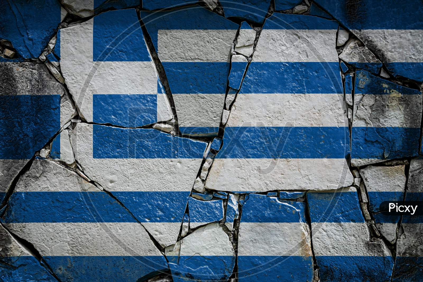 National Flag Of Greece  Depicting In Paint Colors On An Old Stone Wall. Flag  Banner On Broken  Wall Background.