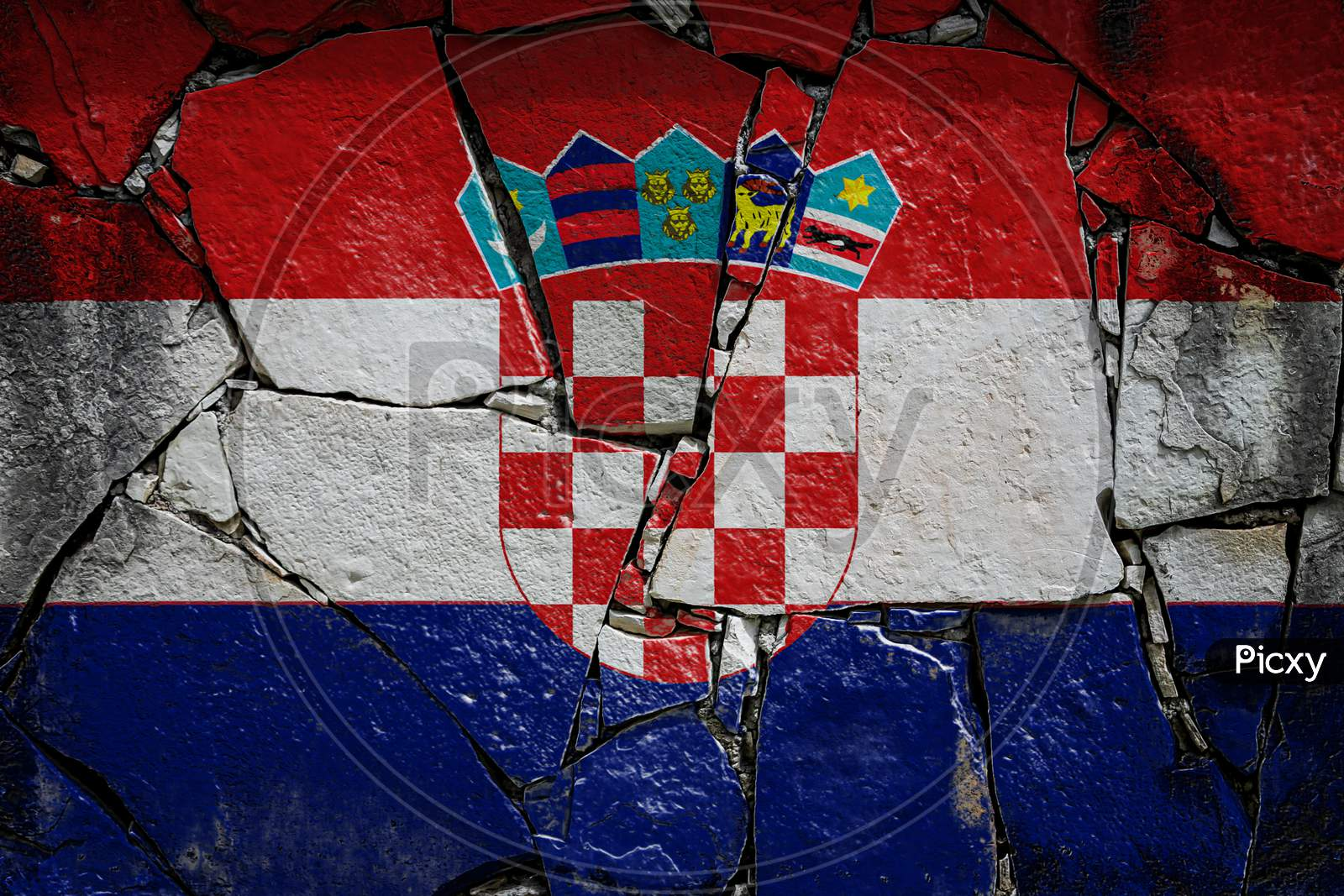 National Flag Of Croatia Depicting In Paint Colors On An Old Stone Wall. Flag  Banner On Broken  Wall Background.