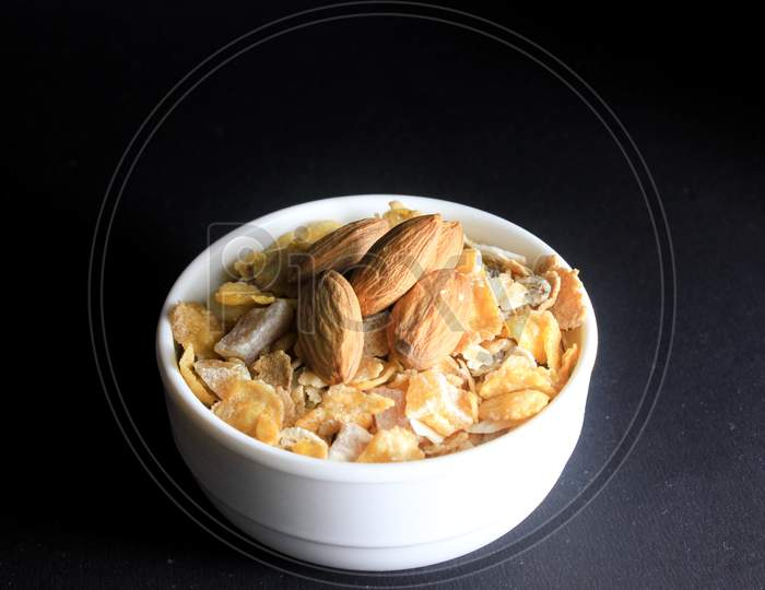 Almonds On Top Of Corn Flakes
