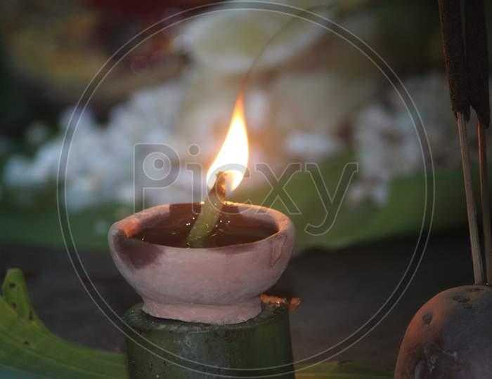 Earthen Lamp at Hindu Temple