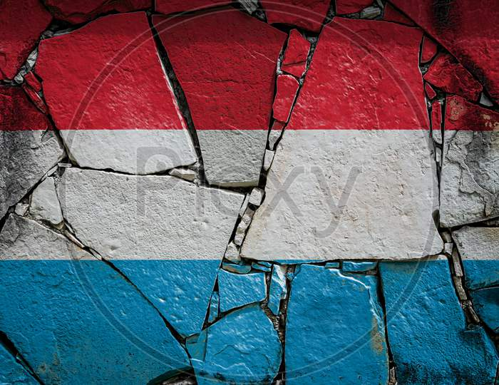 National Flag Of Luxembourg Depicting In Paint Colors On An Old Stone Wall. Flag  Banner On Broken  Wall Background.