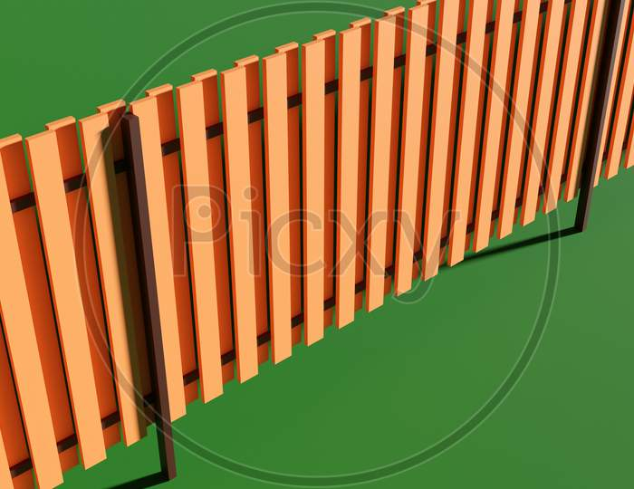 3D Illustration Of A Plan For The Construction Of A Wooden Fence On A Green Background