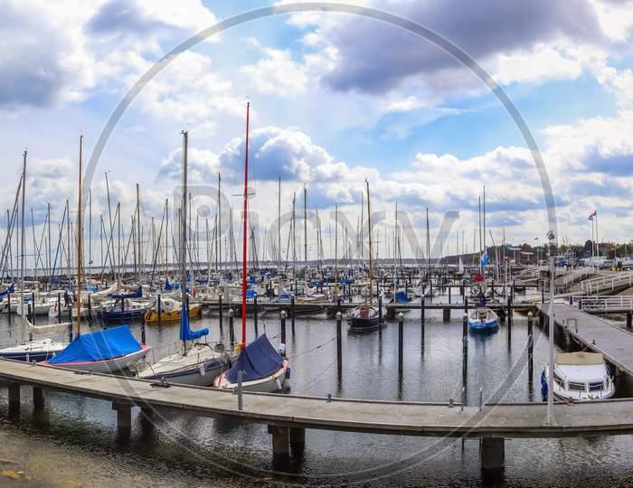 Lots Of Boats At The Marina In Schilksee Close To Kiel In Germany. Schilksee Olympic Sailing Sport