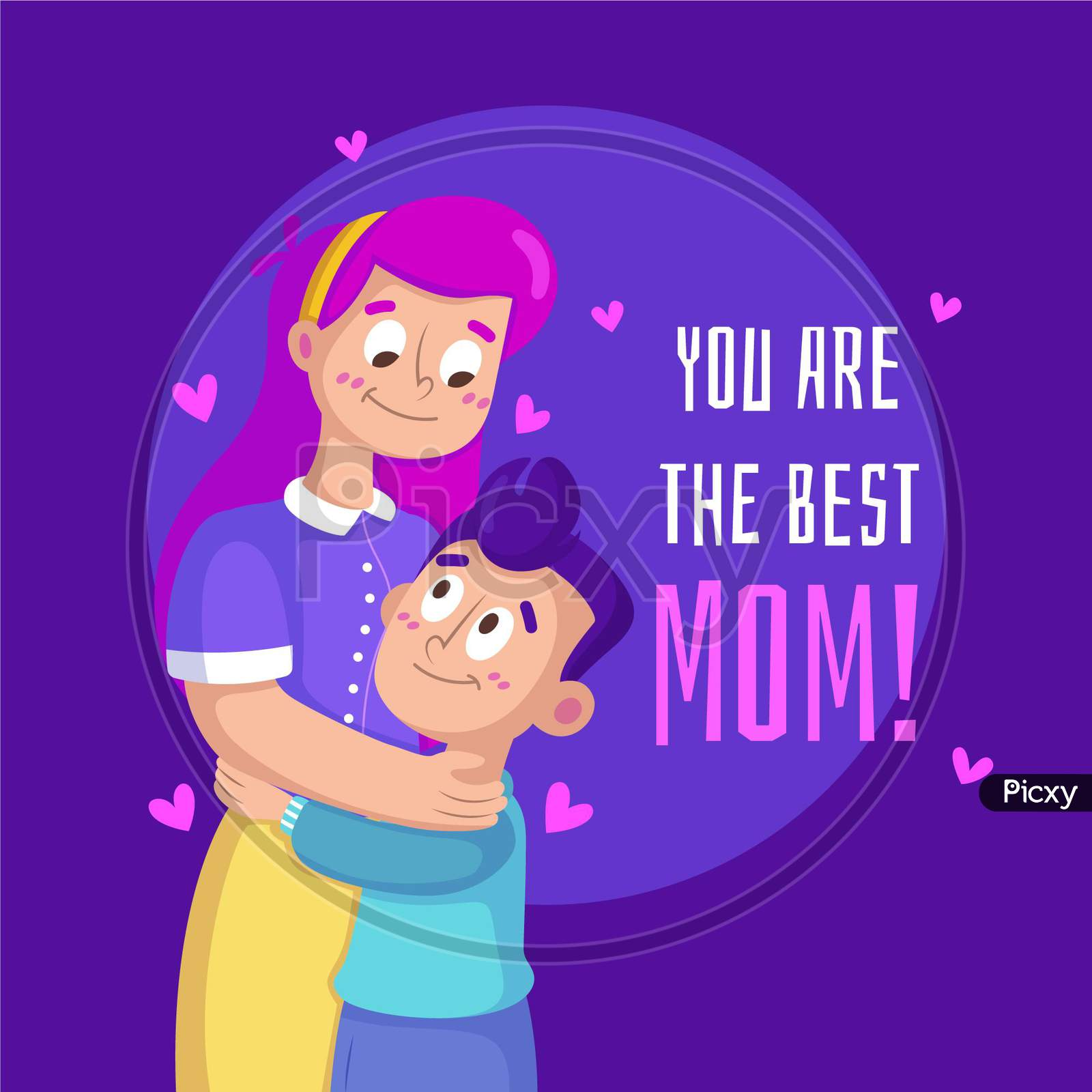 Mother's Day  I Love You Mom Wishes, Greeting, Banner