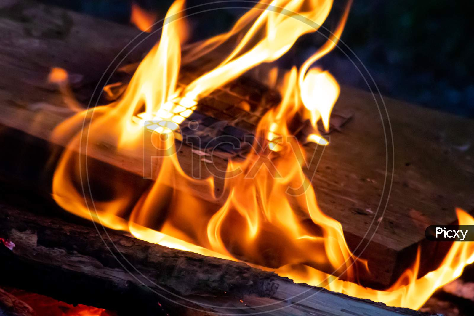 Shiny burning fire in the dark shows the romantic side of a campfire or bonfire, fire safety and the need of a fire insurance as well as survival adventures outdoor with the children and the family