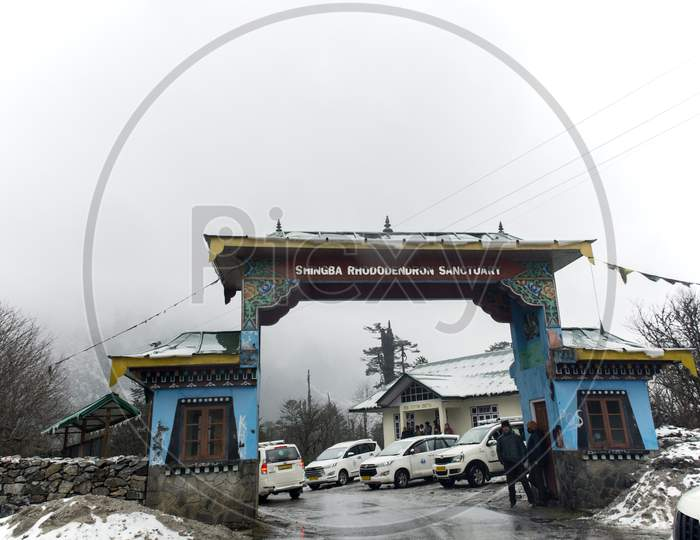 The Entry Gate Of Shingba Rhododendron Sanctuary Near Yumthang Valley, India.